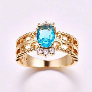 Sea blue topaz gem gold ring princess jasmine
